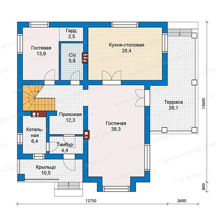 1этаж. План проекта №57-39K