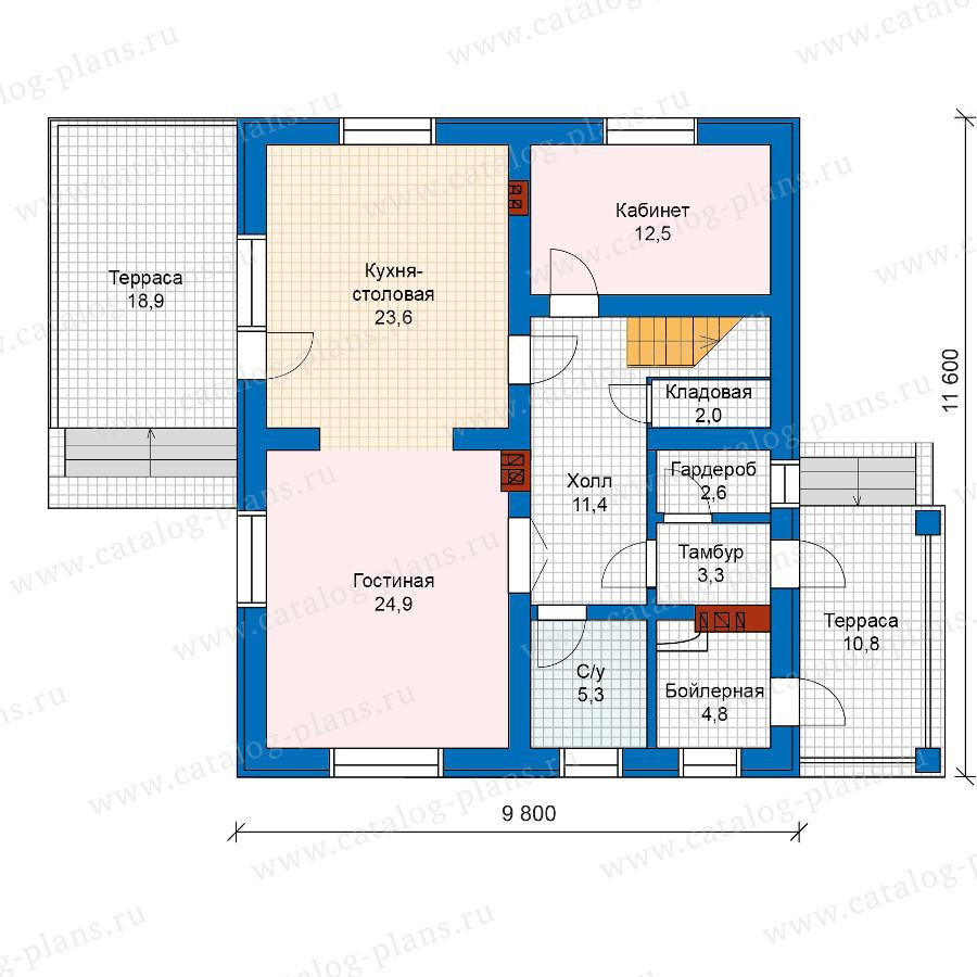 1этаж. План проекта №57-50