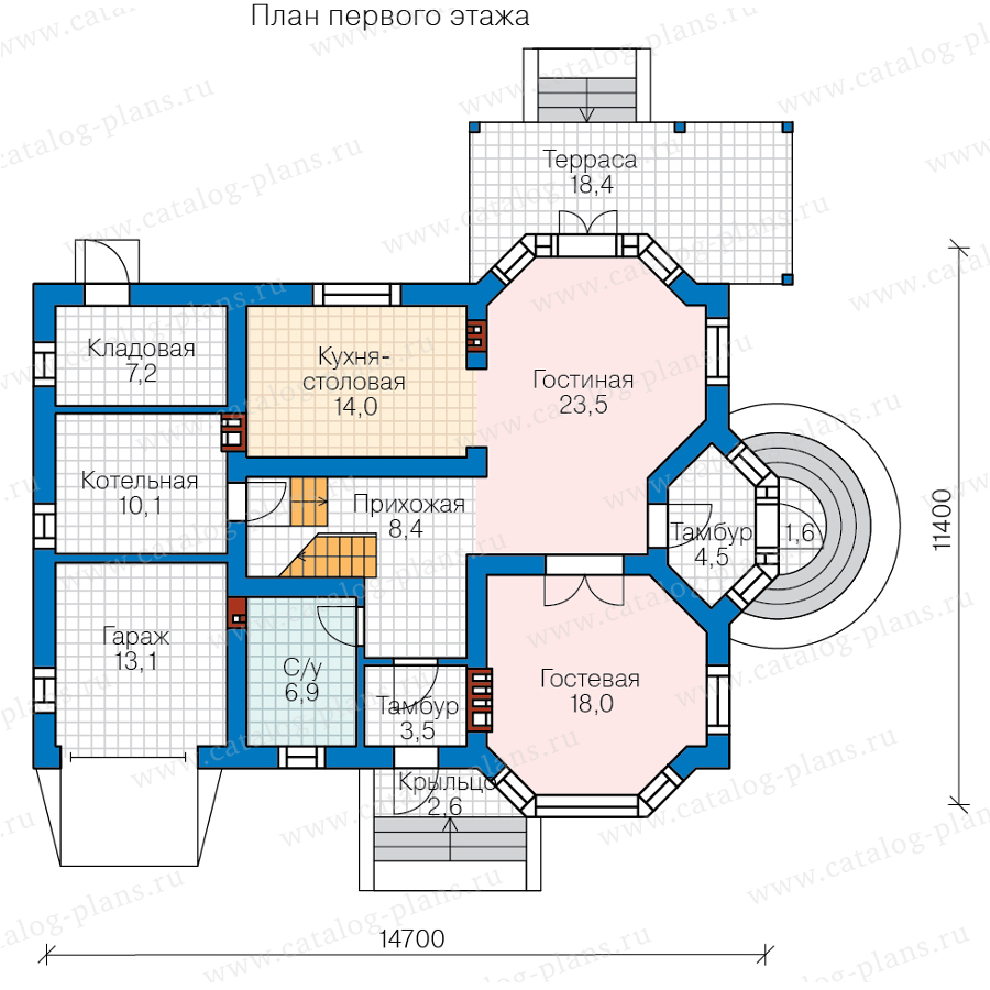 1этаж. План проекта №57-52A