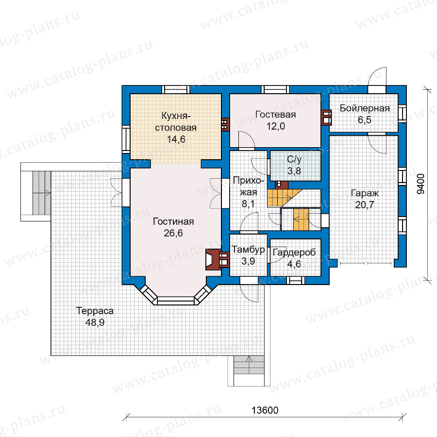 1этаж. План проекта №57-52K