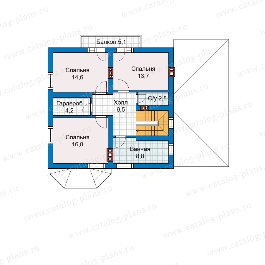 2этаж. План проекта №57-52K