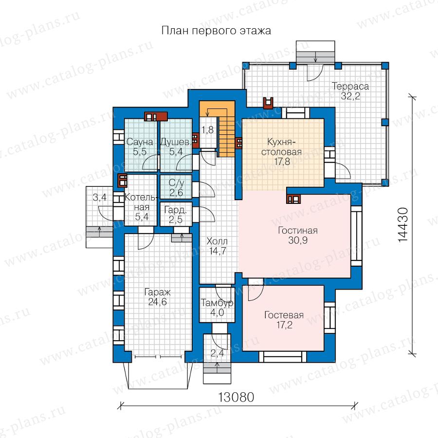 1этаж. План проекта №57-54AK