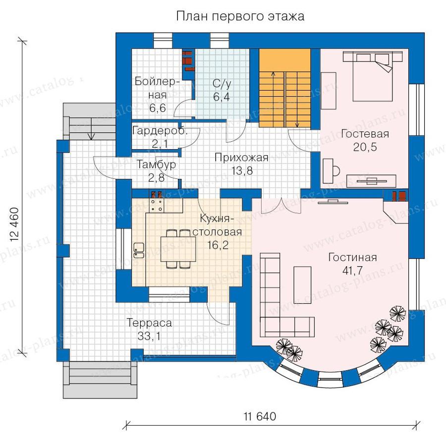1этаж. План проекта №57-60AK