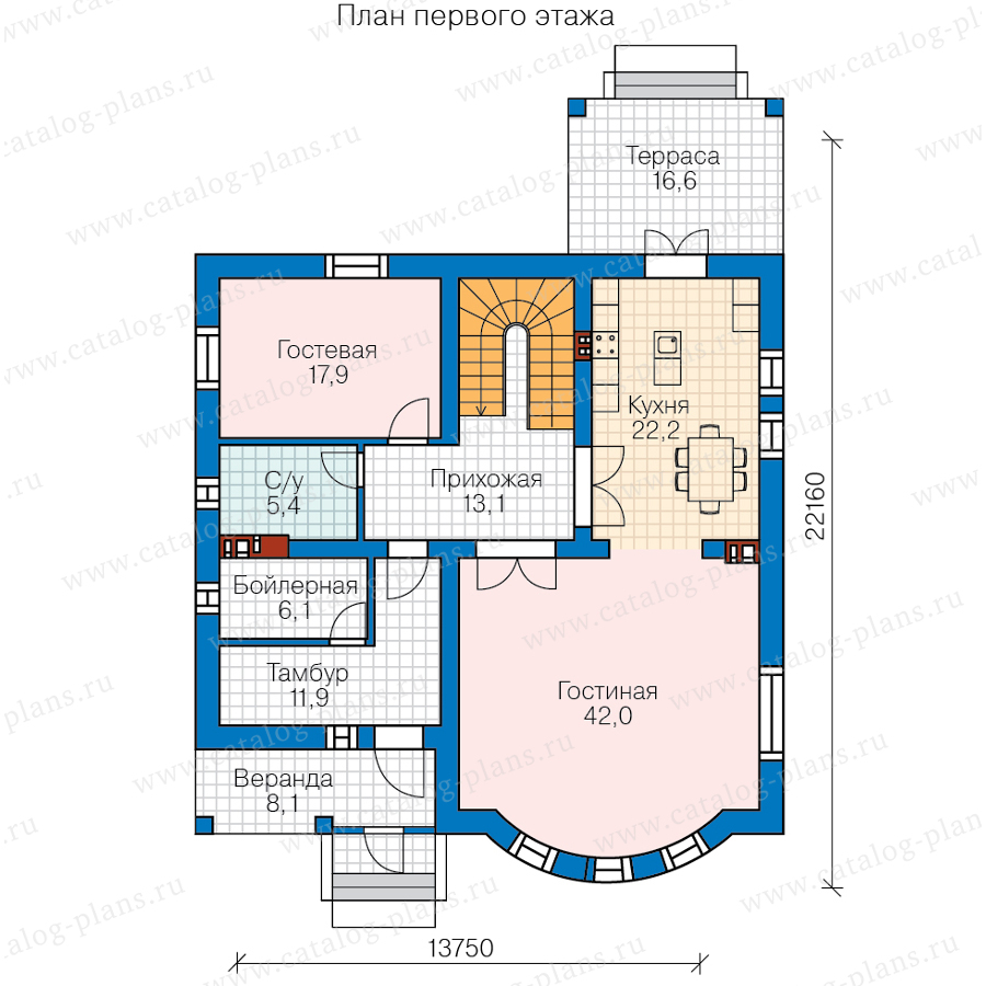 1этаж. План проекта №57-60B