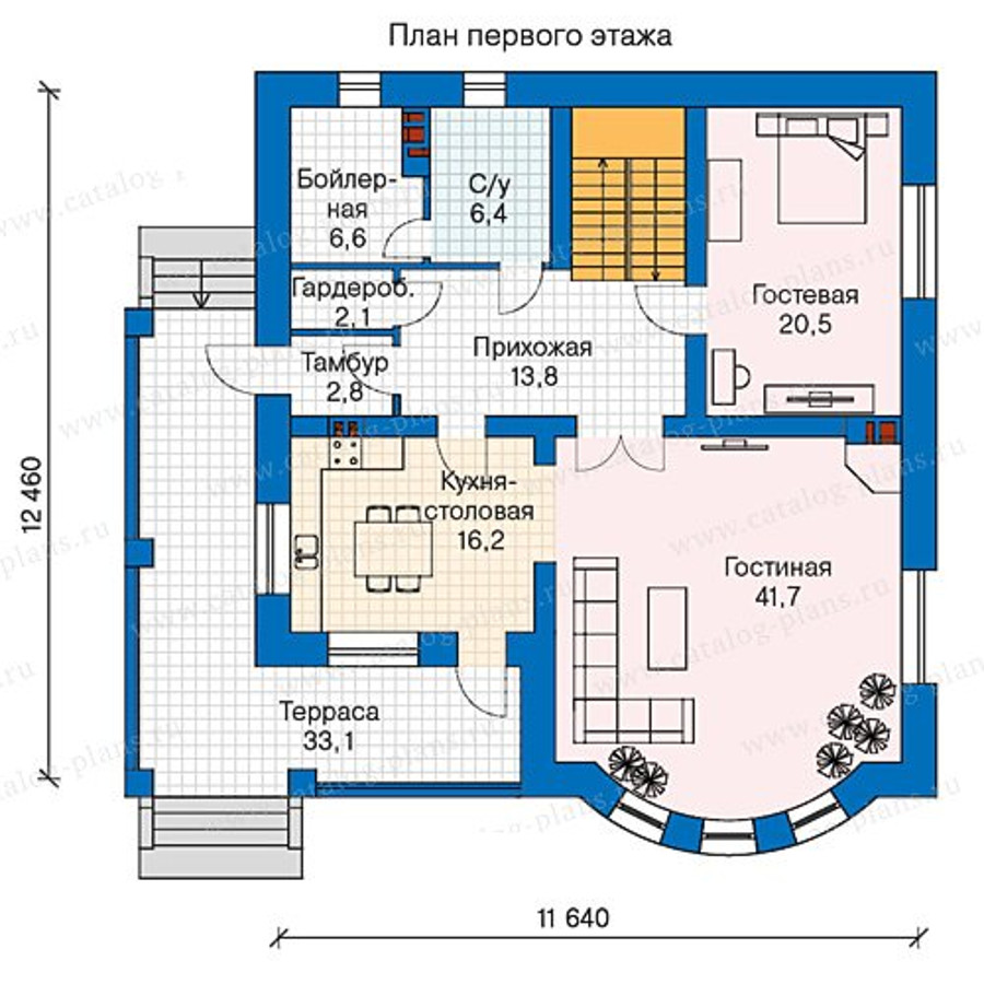1этаж. План проекта №57-60K