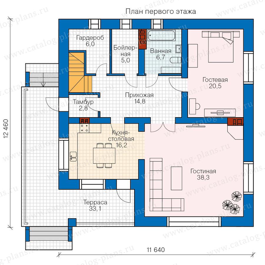 1этаж. План проекта №57-61K