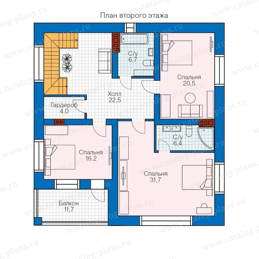 2этаж. План проекта №57-61K