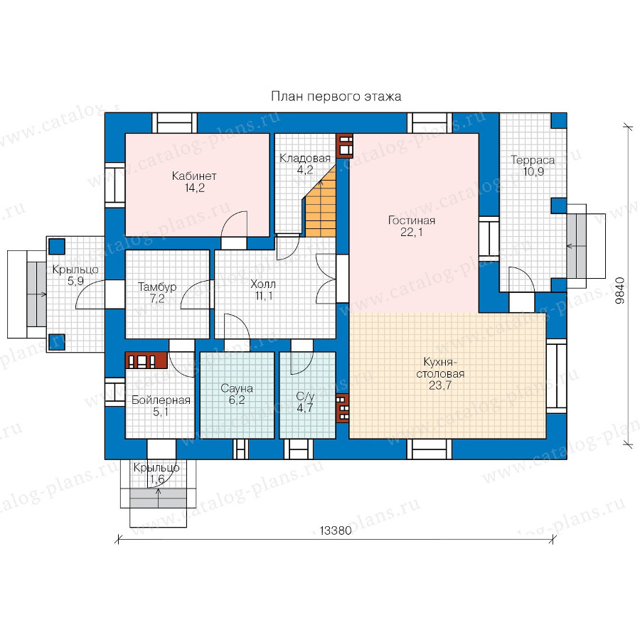 1этаж. План проекта №57-62A