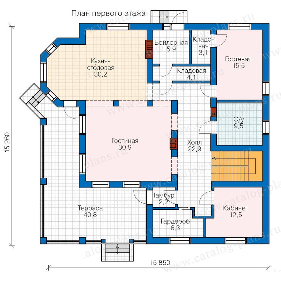 1этаж. План проекта №57-74