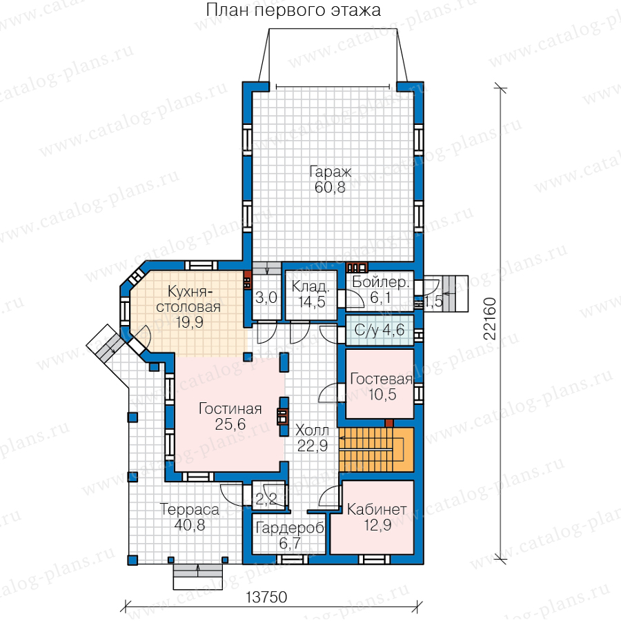 1этаж. План проекта №57-74B