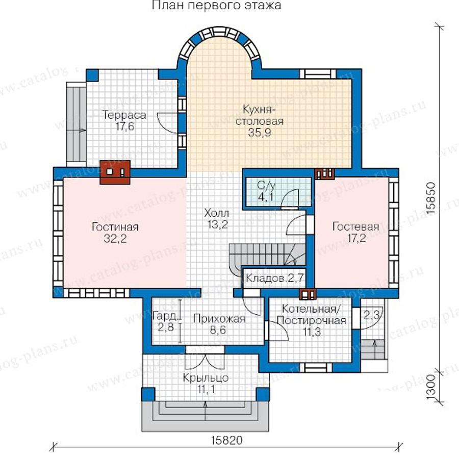 1этаж. План проекта №57-77A