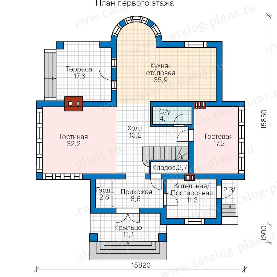 1этаж. План проекта №57-77AK