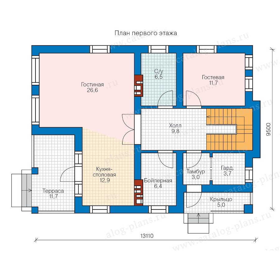 1этаж. План проекта №57-84