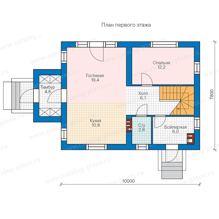 1этаж. План проекта №57-89K
