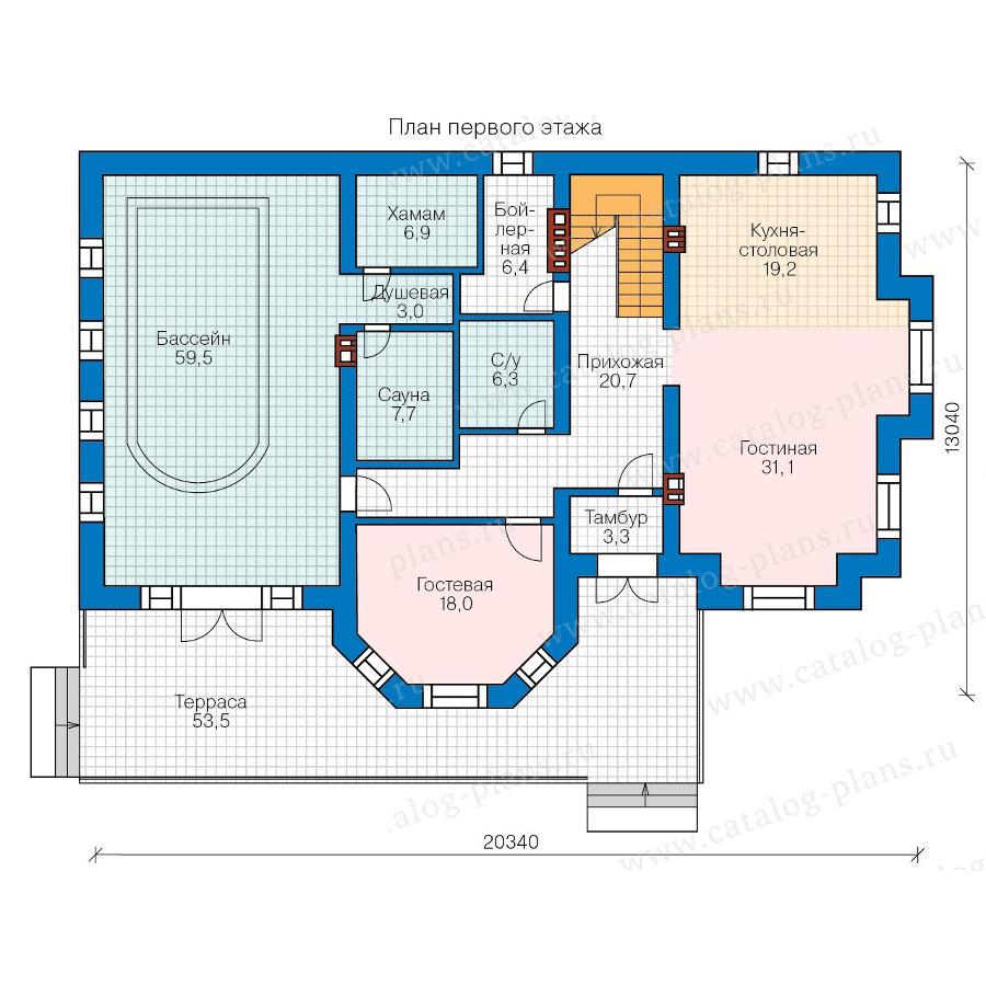 1этаж. План проекта №57-92K