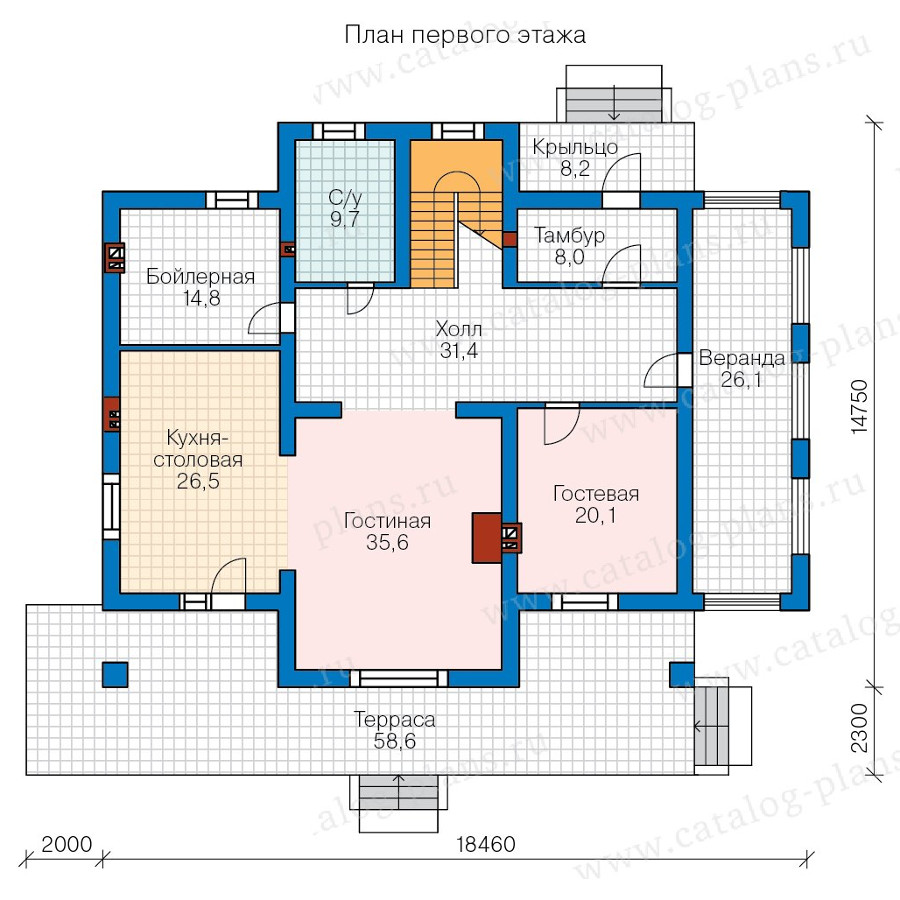 1этаж. План проекта №58-02