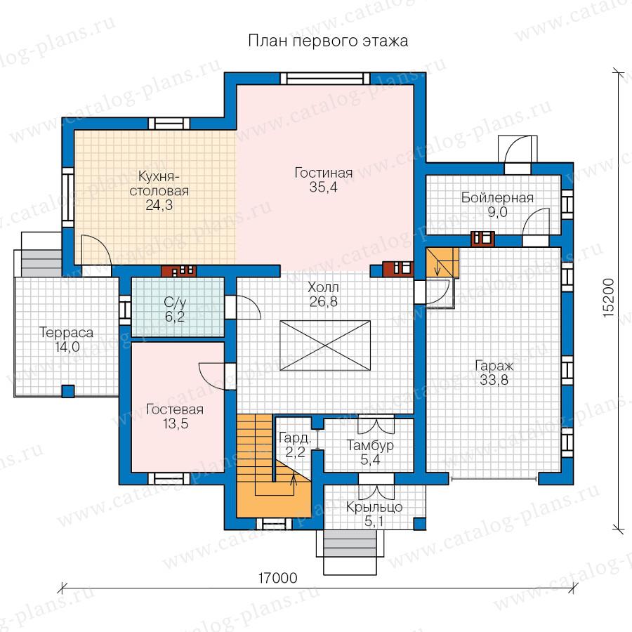 1этаж. План проекта №58-08