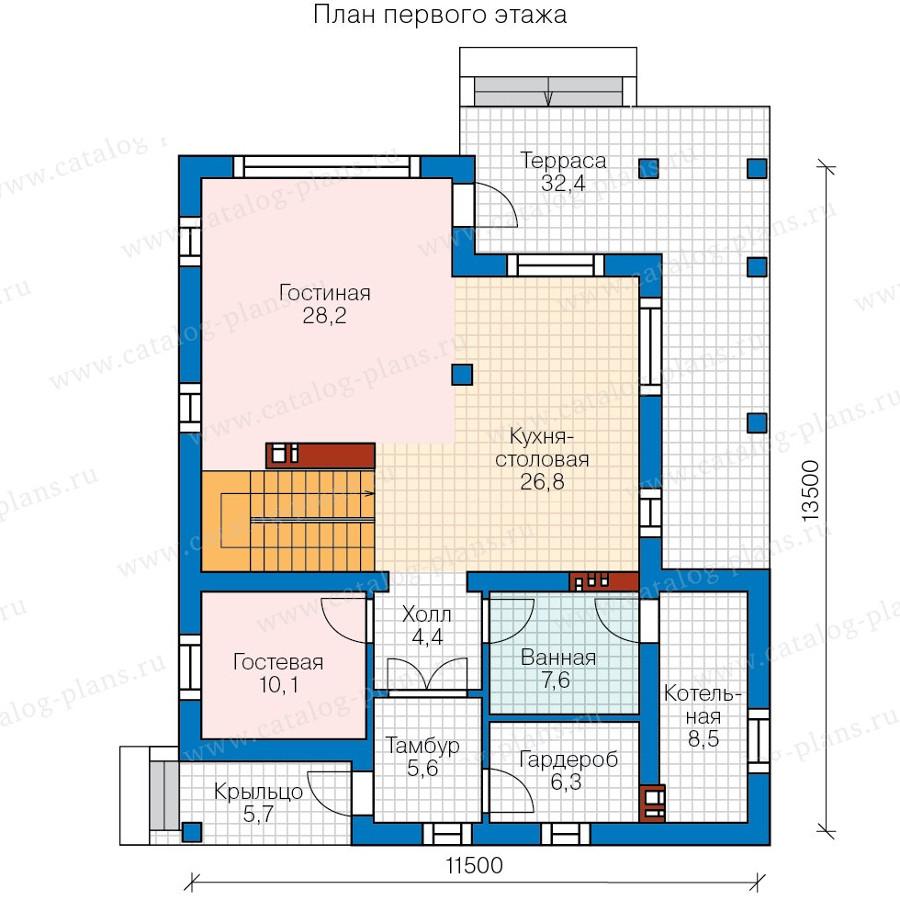 1этаж. План проекта №58-09K