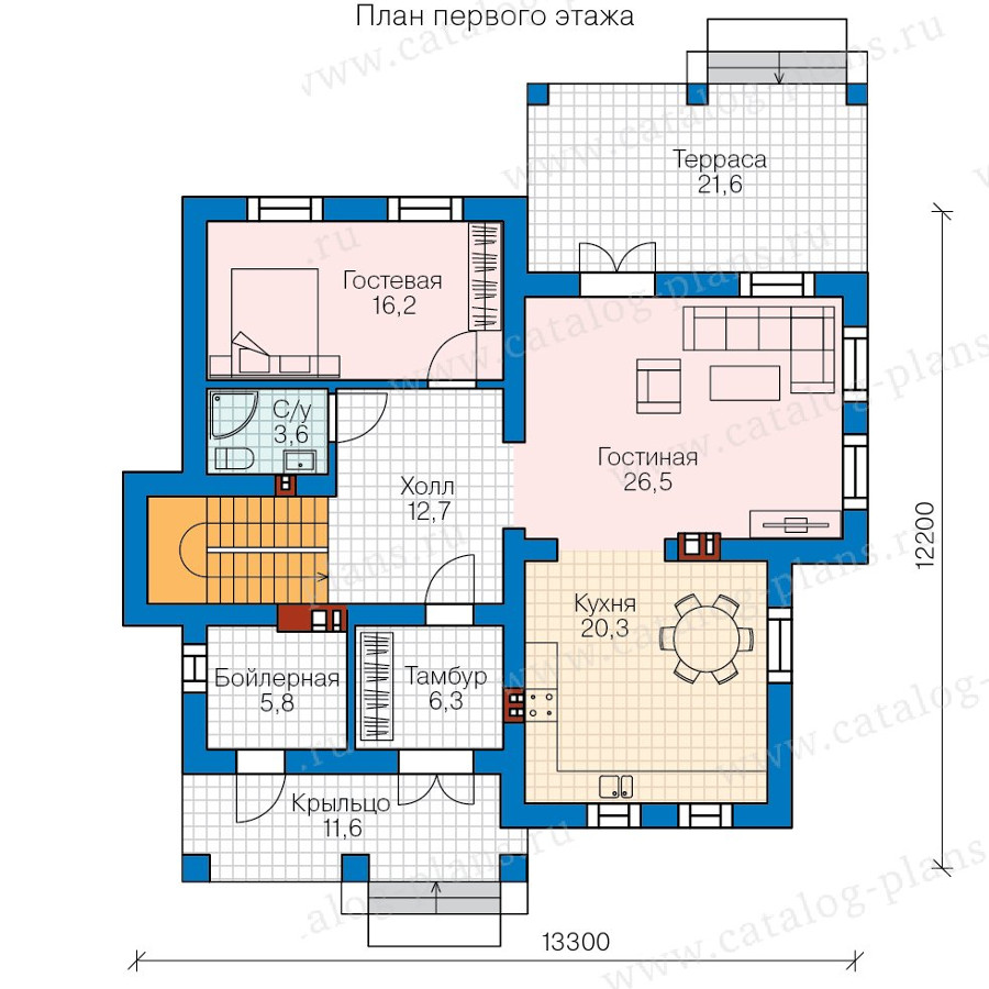 1этаж. План проекта №58-19