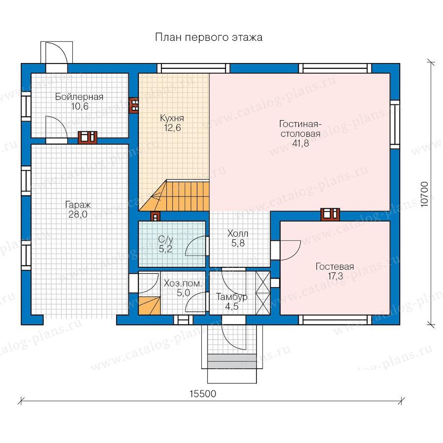 1этаж. План проекта №58-21
