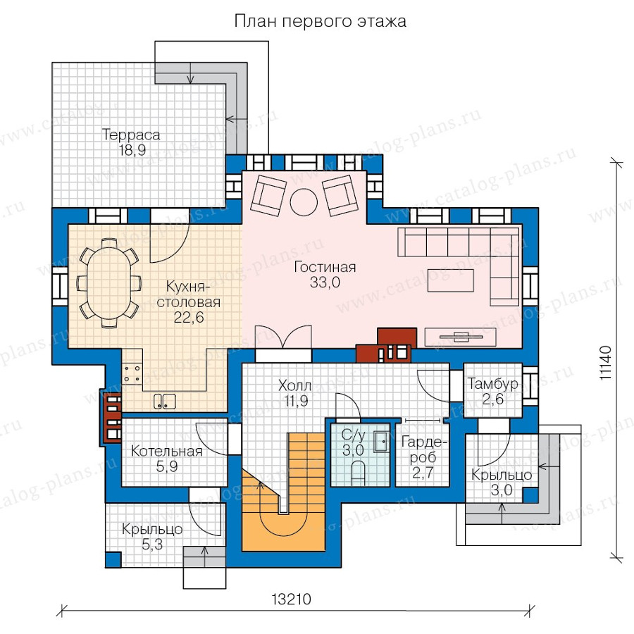 1этаж. План проекта №58-27