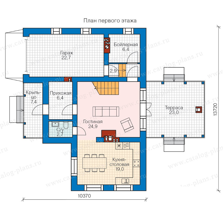 1этаж. План проекта №58-33