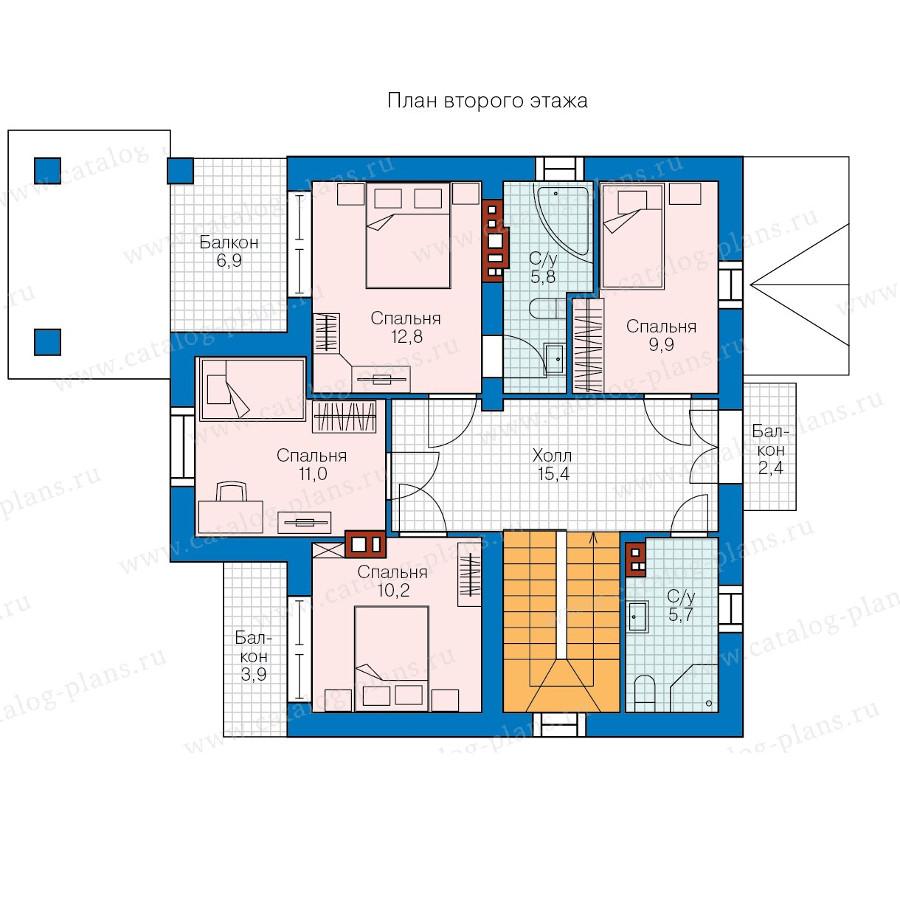 2этаж. План проекта №58-34
