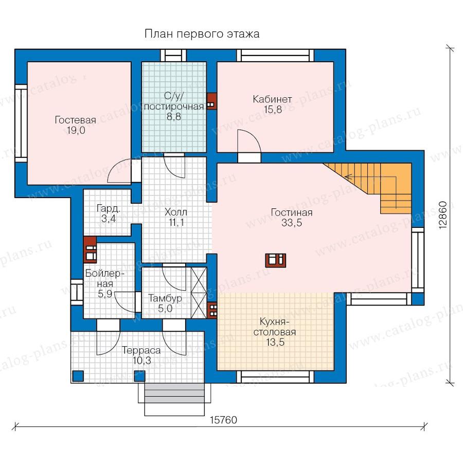1этаж. План проекта №58-36