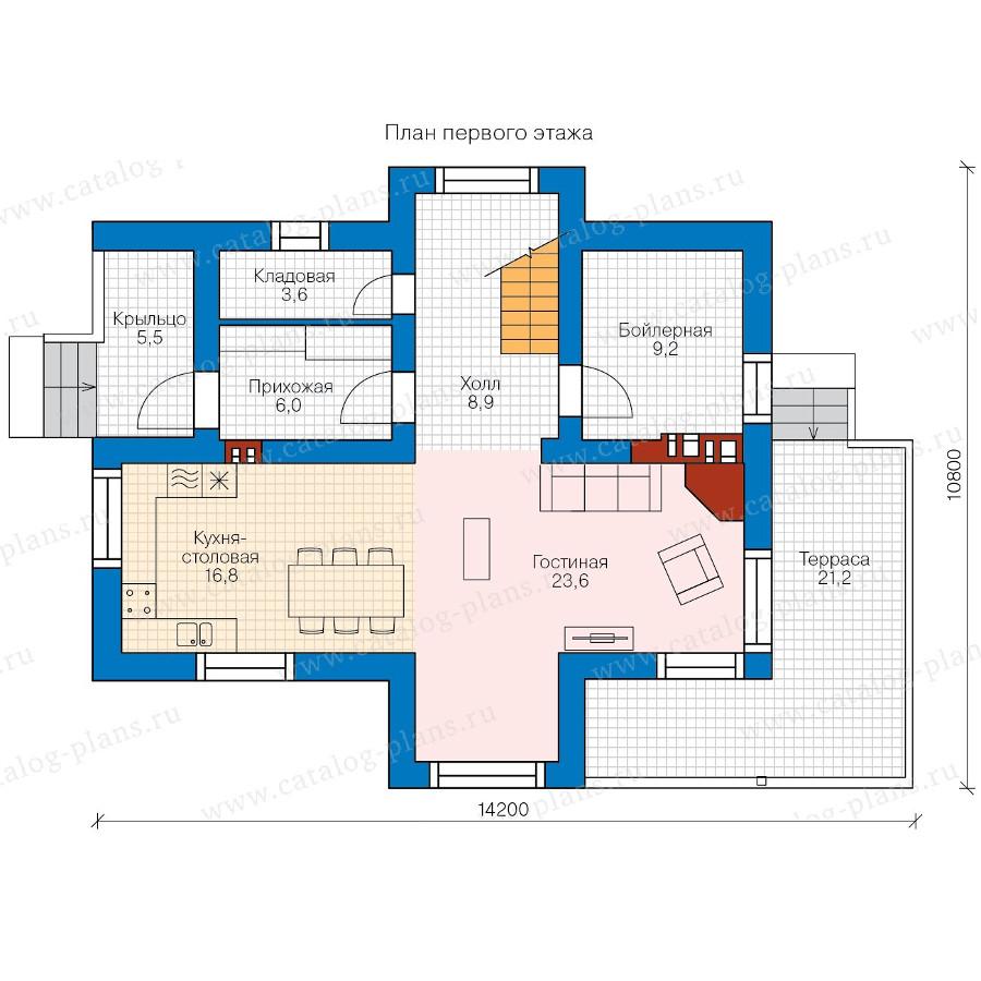 1этаж. План проекта №58-39