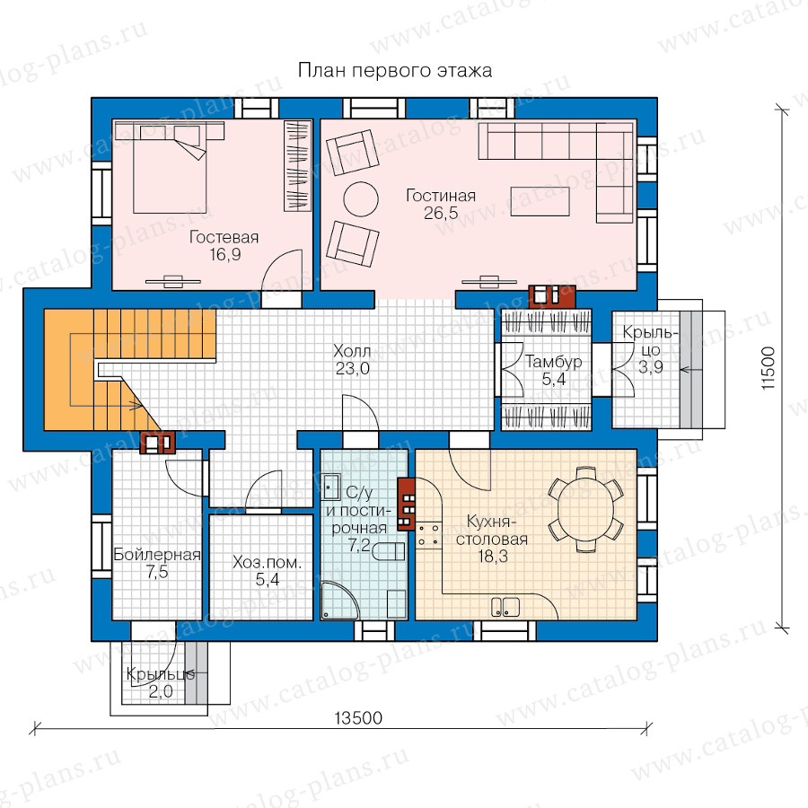 1этаж. План проекта №58-41