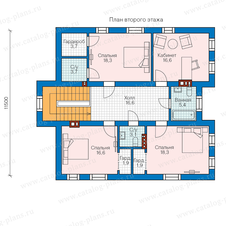 2этаж. План проекта №58-41
