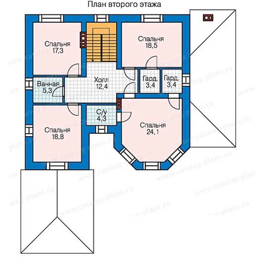 3этаж. План проекта №58-43