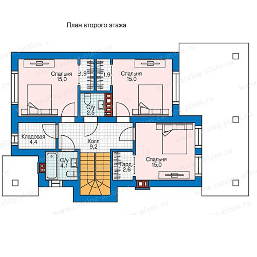 2этаж. План проекта №58-45