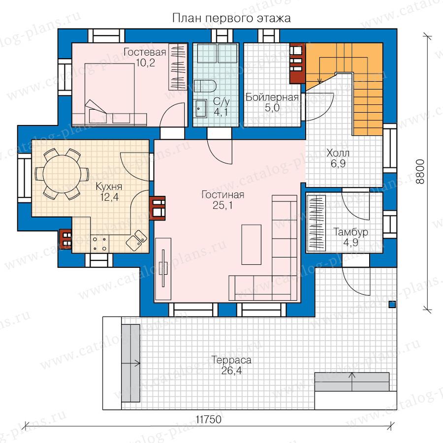 1этаж. План проекта №58-55
