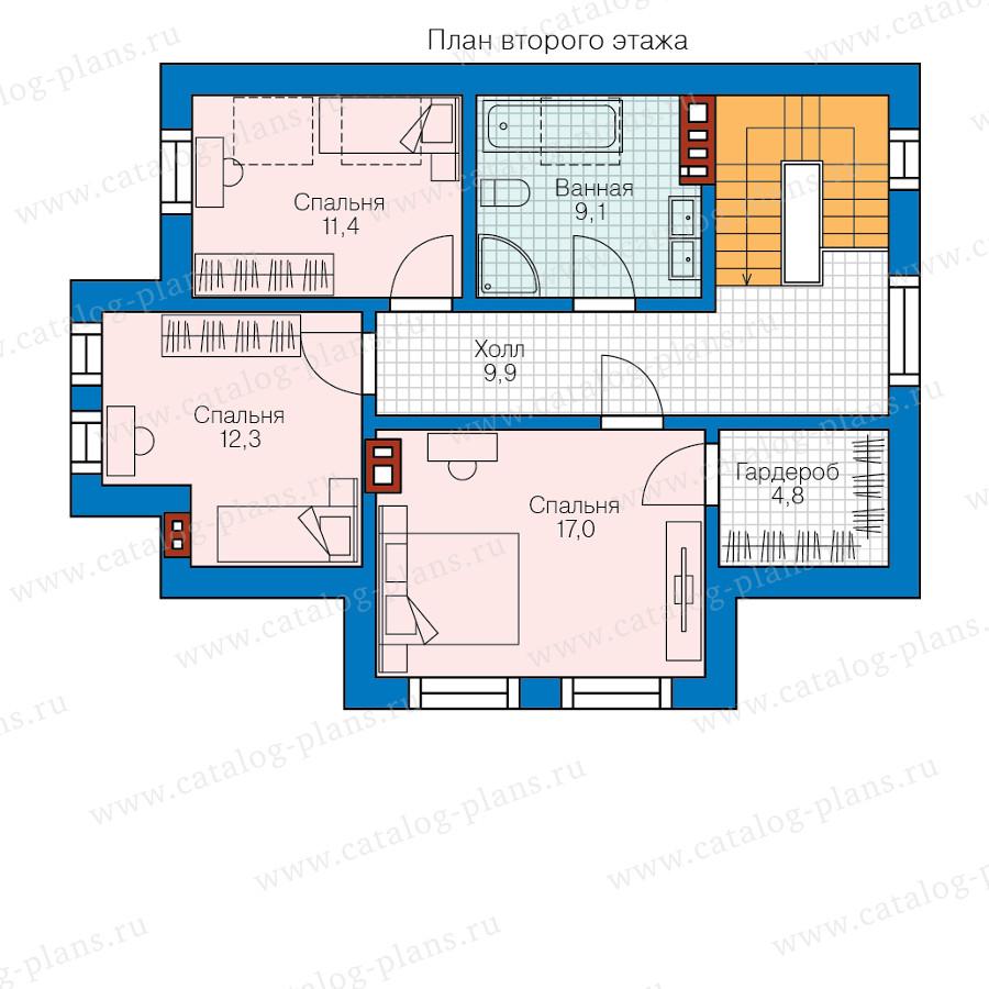 2этаж. План проекта №58-55
