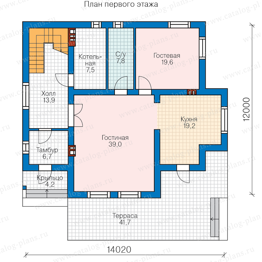 1этаж. План проекта №58-55A