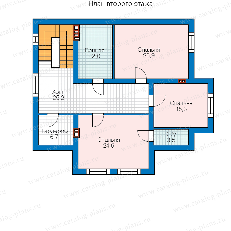 2этаж. План проекта №58-55A