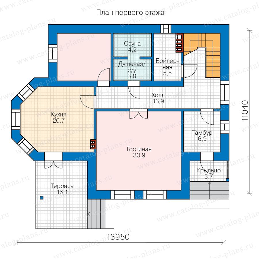 1этаж. План проекта №58-55BL