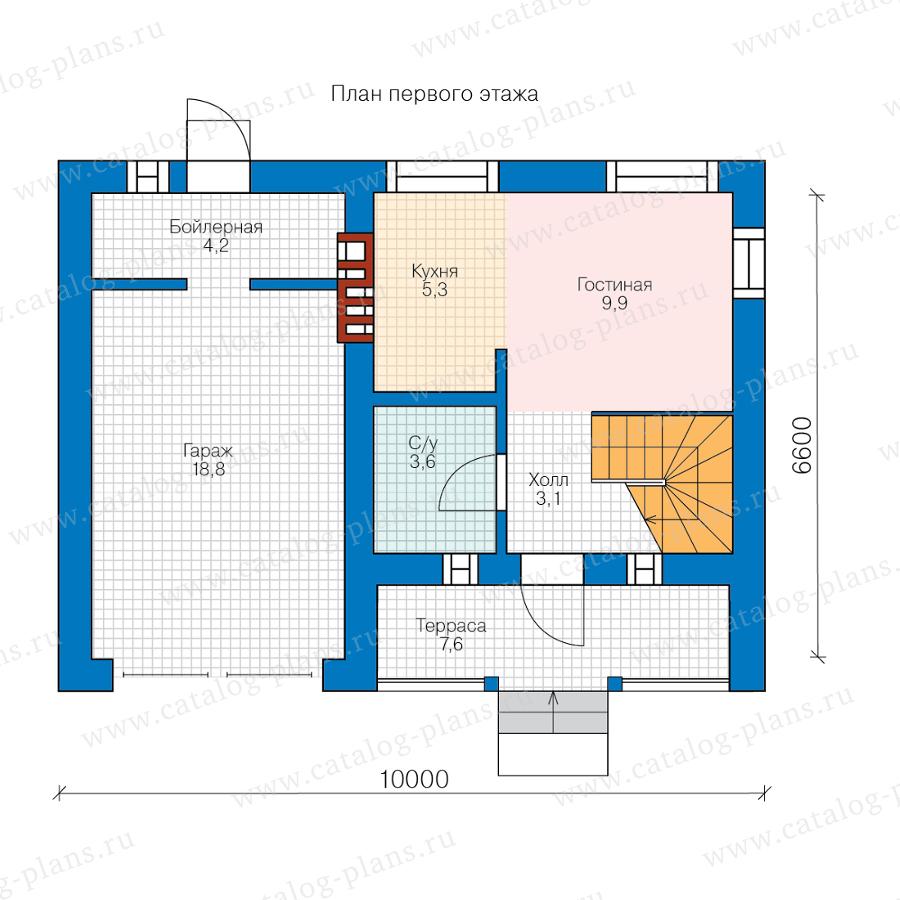 1этаж. План проекта №58-56A