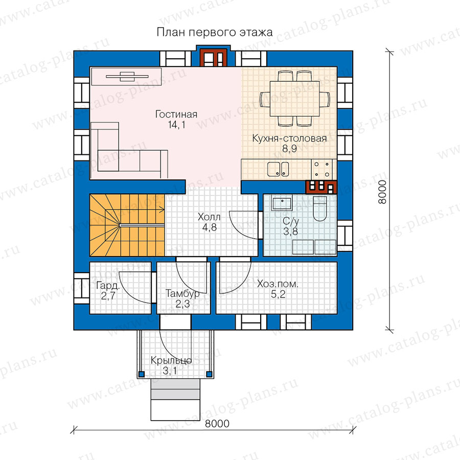 1этаж. План проекта №58-59
