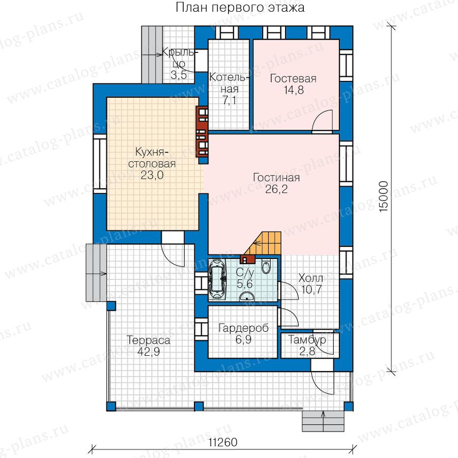 1этаж. План проекта №58-64L
