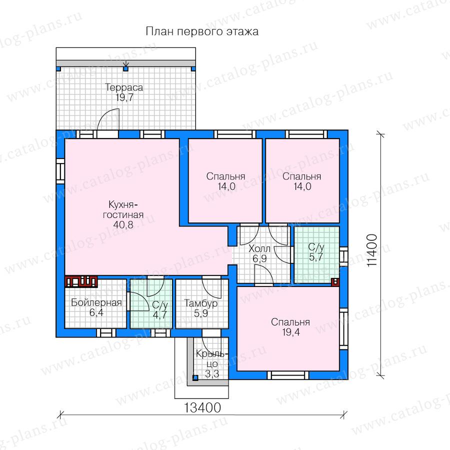 1этаж. План проекта №58-70A