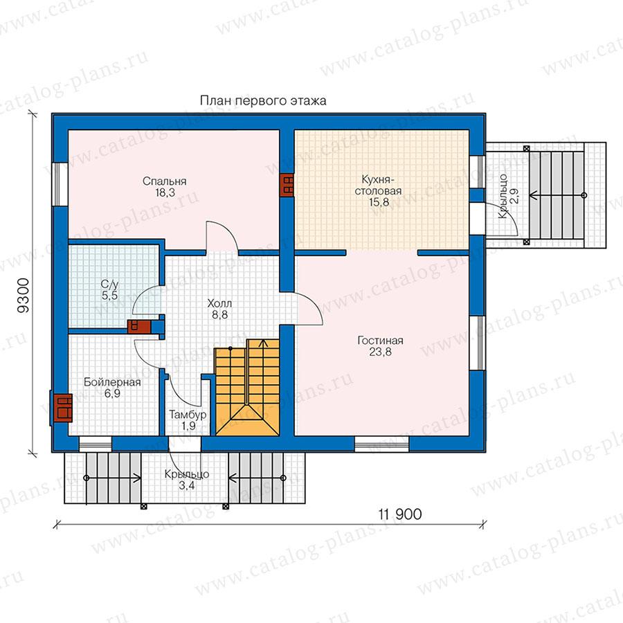 1этаж. План проекта №58-72