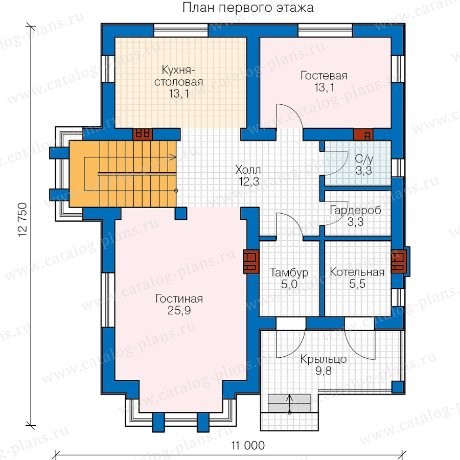 1этаж. План проекта №58-76