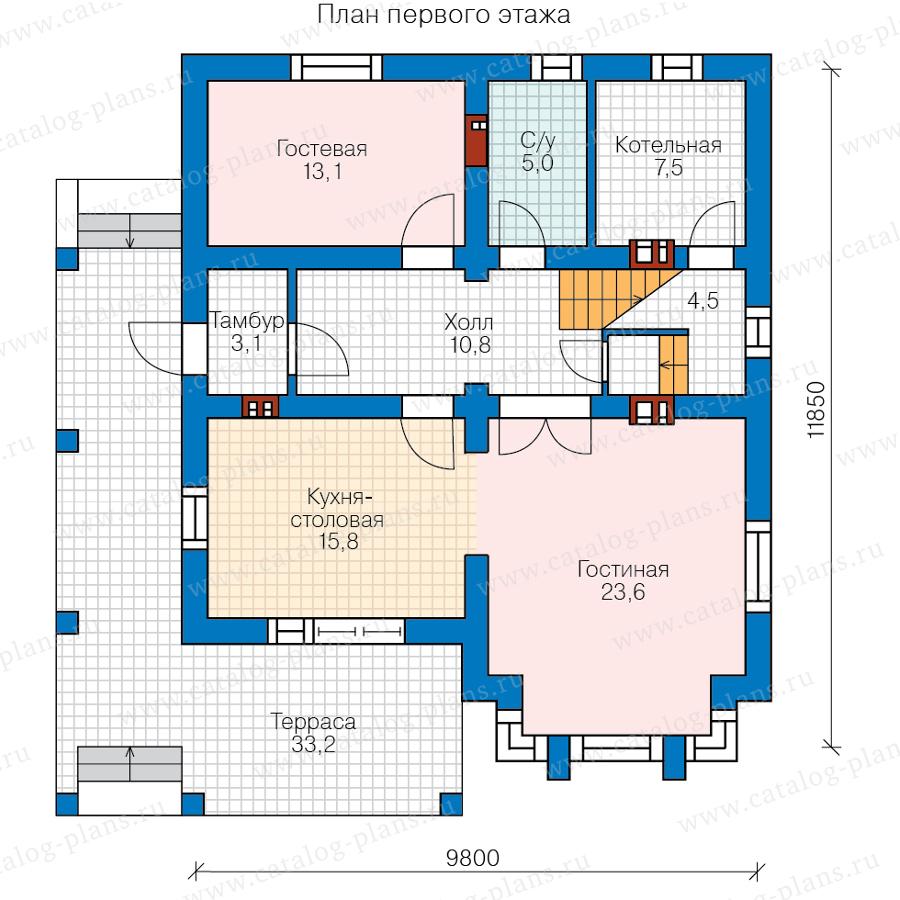 1этаж. План проекта №58-92