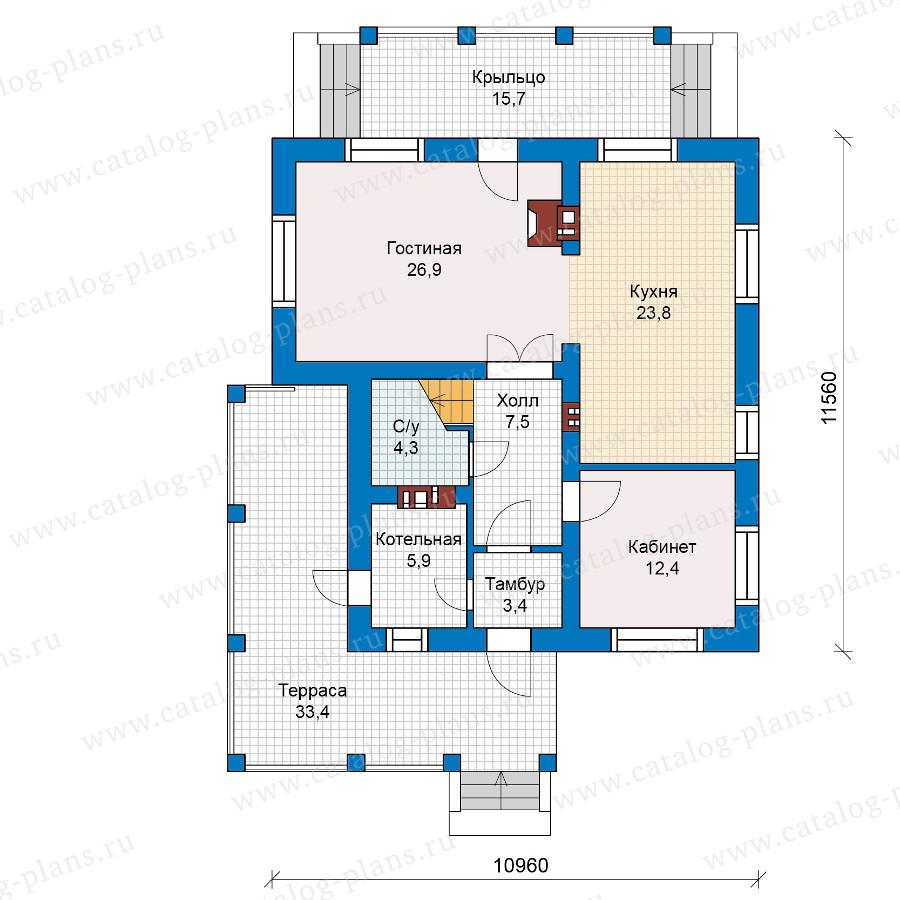 1этаж. План проекта №59-62L