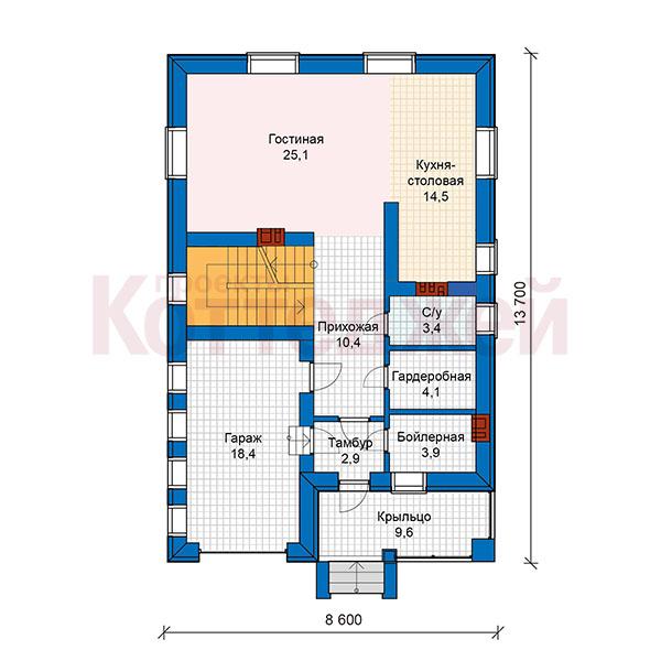 1этаж. План проекта №59-90