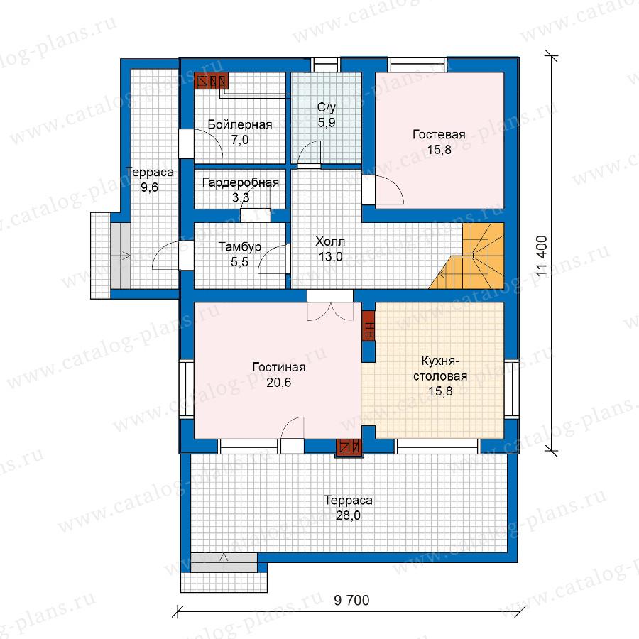 1этаж. План проекта №59-98K