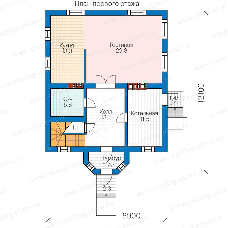 1этаж. План проекта №62-02