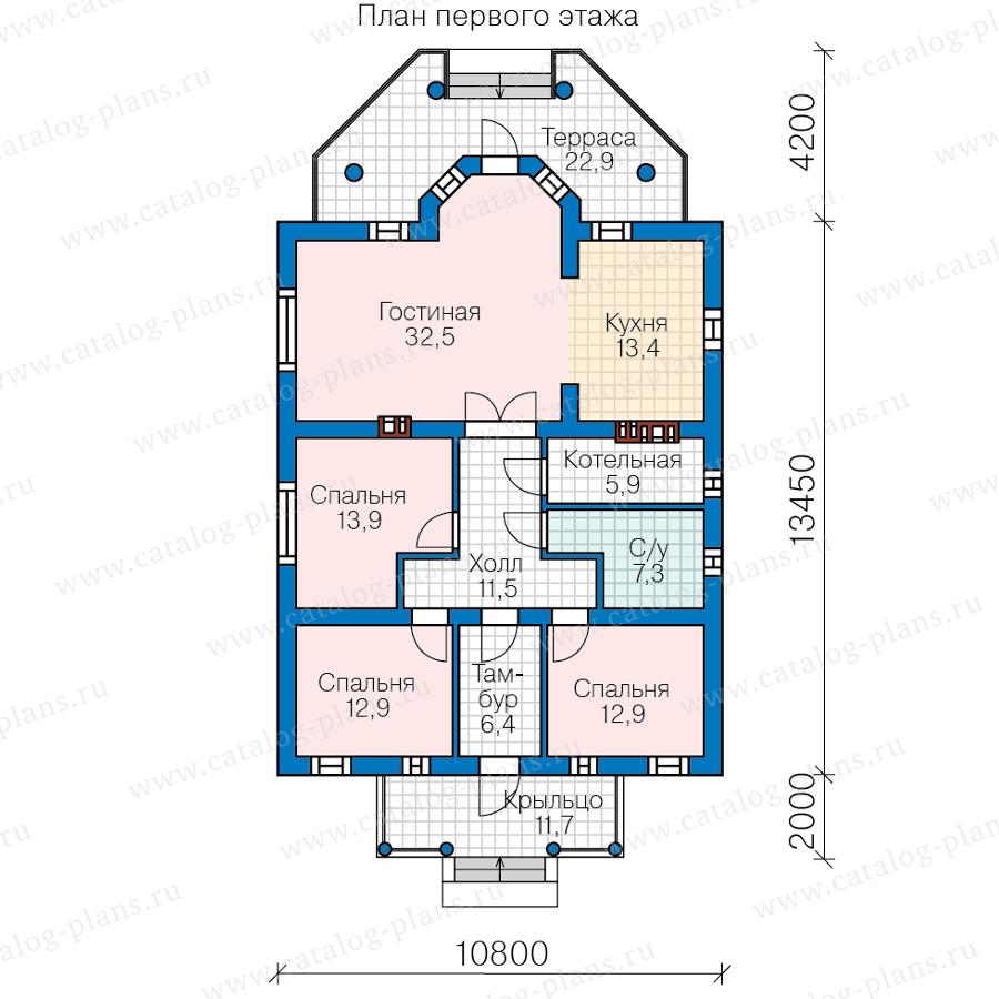 1этаж. План проекта №62-04